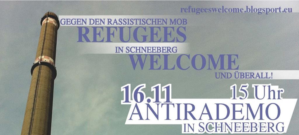 Refugees Welcome! Bundesweite Demo am 16.11 in Schneeberg