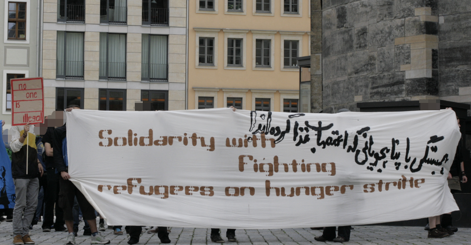 Solidarität mit protestierenden Flüchtlingen in Würzburgn